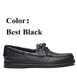 Image 2 - 남자 진짜 가죽 운전 신발, 새로운 패션 Docksides 클래식 보트 신발, 브랜드 디자인 아파트 남성 여성을위한 로퍼 2019A006