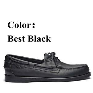 Image 2 - Mężczyźni prawdziwej skóry buty do jazdy samochodem, nowa moda Docksides klasyczny but marynarski, projektowanie marki mieszkania mokasyny dla mężczyzn kobiety 2019A006