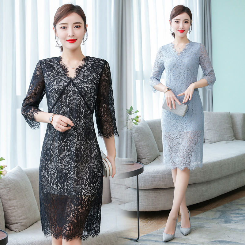 Of Roy Origional Lace Dress 2019 Spring And Summer New Style Elegant Cloudy Blue Slim Fit Ladies' Medium-length Skirt