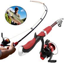 цена на Hot Sale Fishing Rod and Reel Set Casting Fishing Rods Carbon  Ultra Light Rod with Mini Spinning Reels Fishing Tackle Set