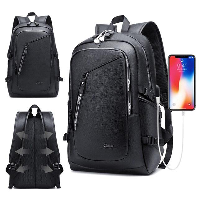 גדול גברים של עור תרמיל PU 15.6 מחשב נייד Bagpack עמיד למים נסיעות עסקי תרמילי בית ספר שקיות USB מטען בחזרה חבילה