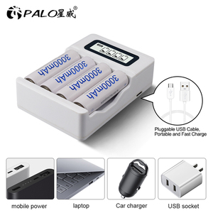 Image 4 - PALO LCD Display Smart USB Charger AA rechargeable battery charger for 1.2V AA / AAA Ni CD Ni MH Rechargeable Batteries