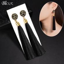 BICUX черные кристаллы, цветок бахрома Серьги Геометрические длинные серьги с ниспадающими кисточками для женщин модные ювелирные изделия Oorbellen