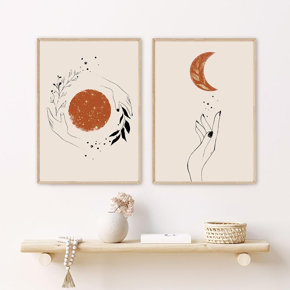 Абстрактная мистическая ручная картина с изображением Солнца и Луны в стиле бохо на холсте, настенные художественные картины, постеры для г...