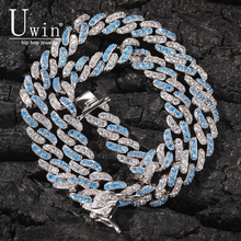 Uwin 9mm Baby Blue Cuban Chain Prong Miami Link Bling Necklace Fashion Rock Punk Hip Hop Jewelry Gift