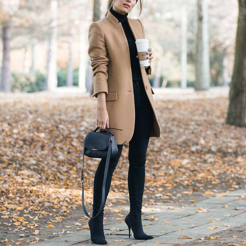 New Wool Blend Coat 2020, Autumn Casual Woman Slim Long, Overcoat Elegant, Stand Collar Single Button Female Outwear, 1