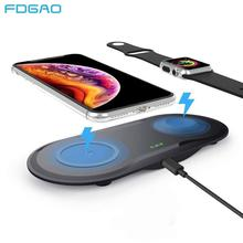 FDGAO 2 in 1 Qi Wireless Charger Dock Station For Apple Watch 5 4 3 2 1 Fast 10W Charging Pad For iPhone 11 Pro XS Max XR X 8