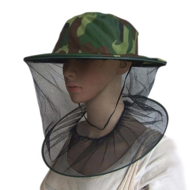 Fishing Caps Camouflage Anti Mosquito Bee Hat With Net Mesh Head Cover Fisherman Hat Beekeeping Camping Mask Face Protect Caps