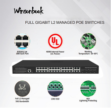 24 port gigabit switch Ethernet PoE interruptor conseguido interruptor PoE 48V con 4 Gigabit SFP Slots IGMP VLAN conmutador PoE controlado