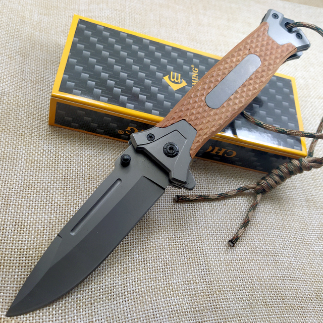8.2'' Tactical Damascus steel Folding knife Pocket knife Camping survival Tactical knives colorful steel + solid wood handle EDC 4