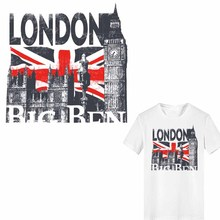 London Big Ben Patch Iron on Transfer United Kingdom Flag Letter Patches for Clothing Heat Vinyl Stickers Thermal Press