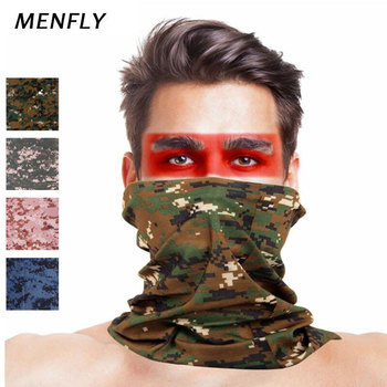 MENFLY Camouflage Turban Print Army Military Hiking Scarf Polyester Windproof Neck Warm Mask UV Protection Tactical kerchief - discount item  35% OFF Camping & Hiking