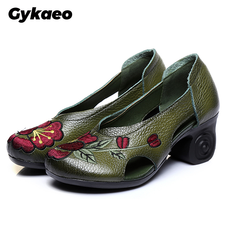 Gykaeo Female National Style Genuine Leather Embroidered Pumps Women Shoes 2020 Spring Ladies Floral High Heels Cowhide Shoes