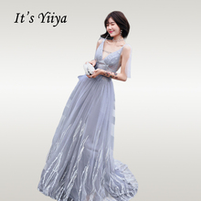 Its Yiiya Evening Dress Elegant V-neck Embroidery Women Party Dresses Plus Size Backless Lace Long Formal Gowns E704