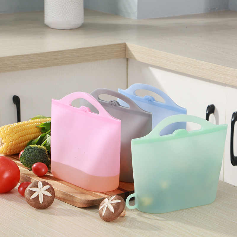 1000ml Silicone Food Storage Bag Reusable Ziplock Bags Fresh-keeping Bag For Food Storage