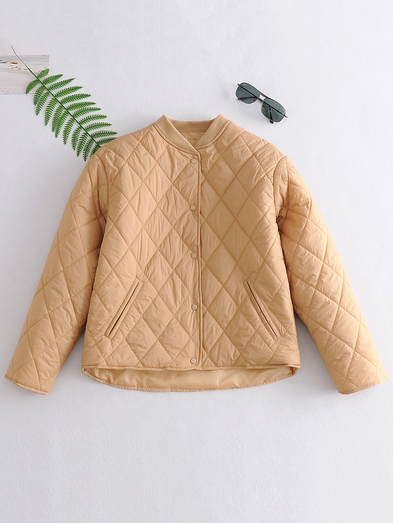 Fall 2020 Women Plaid Jacket Thin Parkas Cotton Jacket Long Sleeve Female Black Padded Overcoat