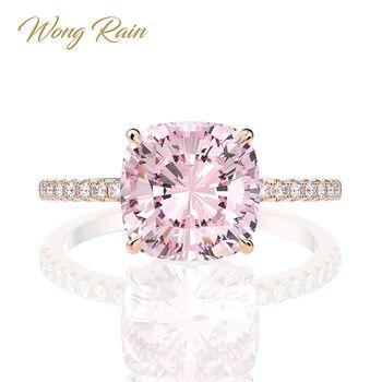 цена Wong Rain 100% 925 Sterling Silver Created Moissanite Sapphire Gemstone Wedding Engagement Rose Gold Ring Fine Jewelry Wholesale онлайн в 2017 году