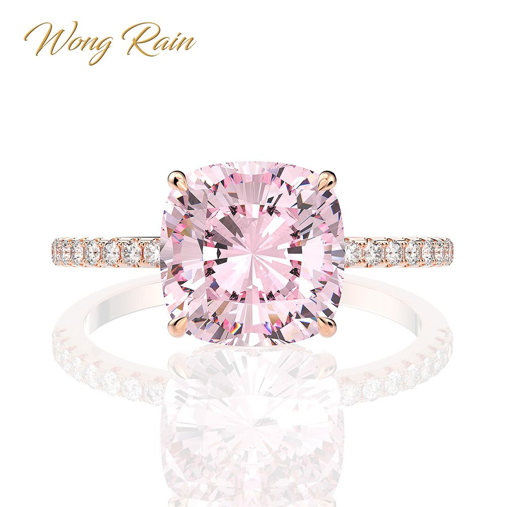 Wong Rain 100% 925 Sterling Silver Created Moissanite Sapphire Gemstone Wedding Engagement Rose Gold Ring Fine Jewelry Wholesale