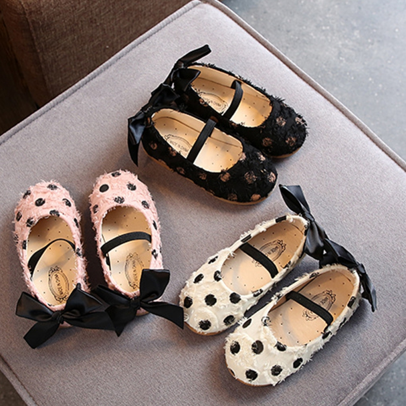 IKids Nfant Baby Girls Elegant Bowknot Dot Single Princess Wedding Shoes Toddler Girls Shoes For Girls Lace Shoes For 0-6Y Baby