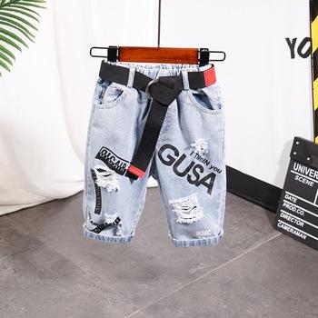 Dzieci krótkie miękkie spodnie chłopięce spodenki jeansowe chłopięce dżinsy w stylu letnim denim majtki chłopięce dziura dorywczo chłopięce spodenki dżinsowe 2-7Y tanie i dobre opinie COTTON POLIESTER szorty Dobrze pasuje do rozmiaru wybierz swój normalny rozmiar Chłopcy D22029 Na co dzień Elastyczny pas