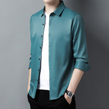 Long-Sleeve-Shirts Light Green Blouses Plain Big-Size Mens Satin for Purple Smooth Broad