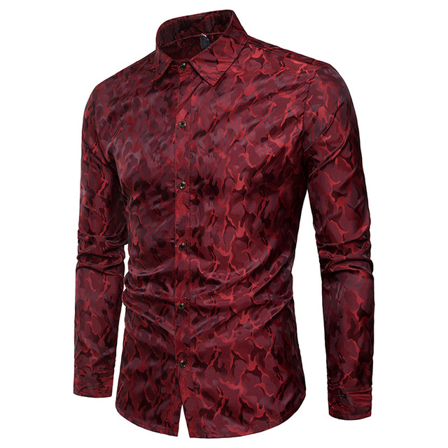 משי סאטן חולצה גברים 2018 חדש לגמרי חלק טוקסידו חולצת מבריק הסוואה הדפסת חתונה שמלת חולצות מקרית Slim Fit סגול חולצה