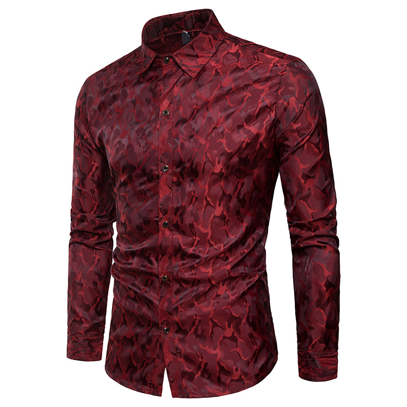 Silk Satin Shirt Men 2018 Brand New Smooth Tuxedo Shirt Shiny Camouflage Print Wedding Dress Shirts Casual Slim Fit Purple Shirt