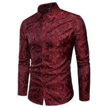 Silk Satin Shirt Men 2018 Brand New Smooth Tuxedo Shirt Shiny Camouflage Print Wedding Dress Shirts Casual Slim Fit Purple Shirt