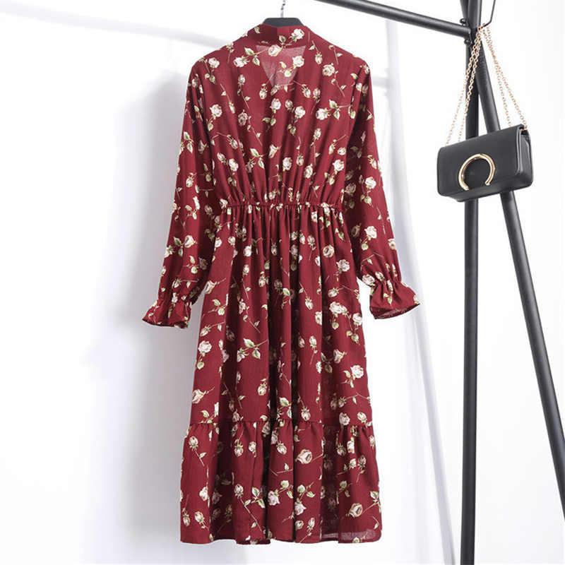 Vestido Casual de otoño para mujer, Vestido camisero de gasa con estampado Floral Vintage de estilo coreano, Vestido de verano con lazo de manga larga para mujer