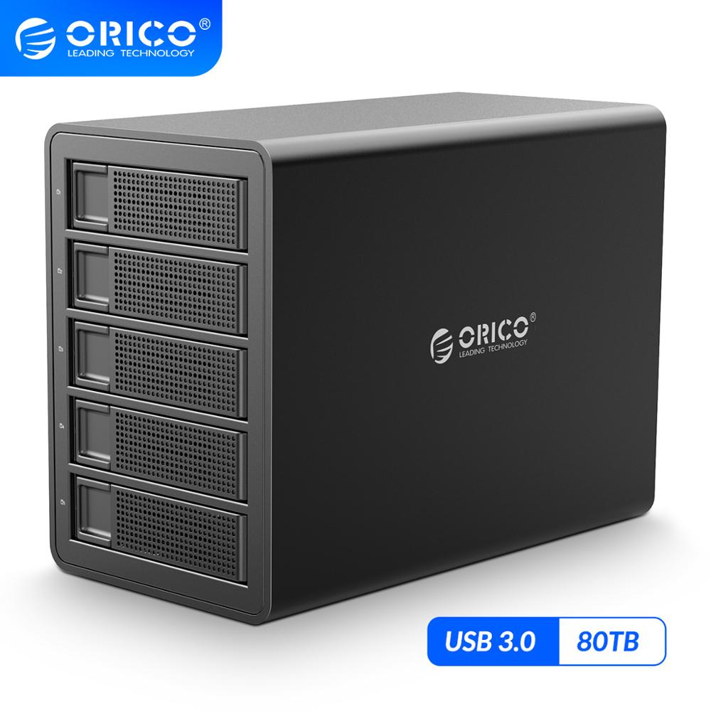 ORICO 35 Series 5 bay 3.5 inch HDD Docking Station USB3.0 With <font><b>RAID</b></font> Aluminum HDD <font><b>Enclosure</b></font> 80TB Capacity with Dual Chip HDD Case image