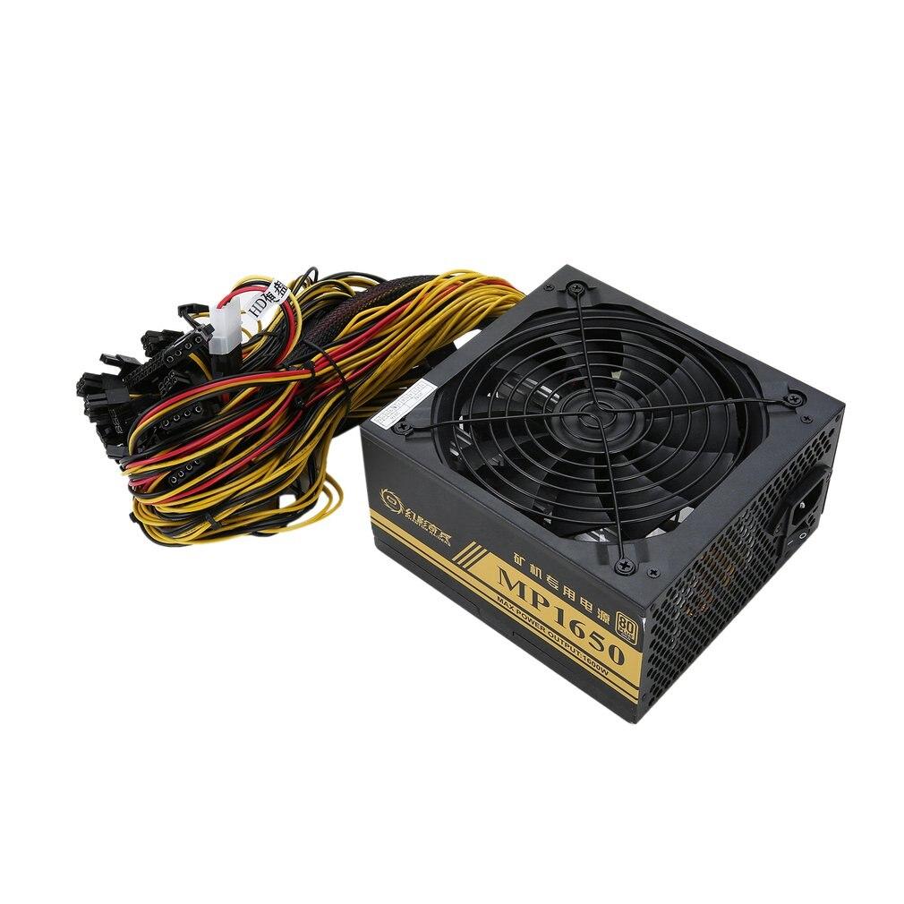 1600W modułowy zasilacz do 6 GPU Eth Rig Ethereum Coin górnicza maszyna górnicza z wentylatorem chłodzącym o niskim poziomie hałasu dla górnika i serwera