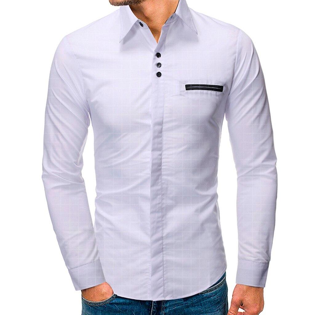 Business Shirts Men Chemise Homme Men's Casual Button Turn-Down Collar Slim Fit Long Sleeve Top Shirt Blouse M-XXXL