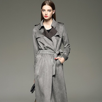 Long-Coats Trench Camel Suede Autumn Winter Women's Fashion Slim Red Gray Solid Sashes