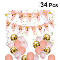 34pcs Girl Birthday Party Decorations Pink Flag Confetti Balloon Hanging Banners Bunting Garland Pendant Ornaments Paper String
