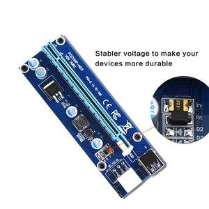 Image 4 - 10 قطعة VER006C PCIe 1x إلى 16x اكسبرس الناهض بطاقة Pci e الناهض موسع 60 سنتيمتر USB 3.0 كابل SATA إلى 6Pin الطاقة للتعدين BTC