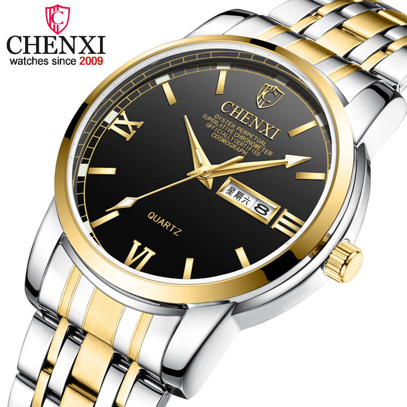 Men Watch CHENXI Luxury Brand Analog Quartz Watch Man Clock Week Calendar Business Male Wristwatches Relogio Masculino 8211