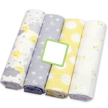 4 Pcs/lot Cotton Baby Blanket Muslin Diapers Soft Baby Blankets Newborn Printed Muslin Swaddle Wrap Flannel Receiving Swaddle simple soft elegant baby soft muslin swaddle blankets pom pom swaddle wrap newborn photography props