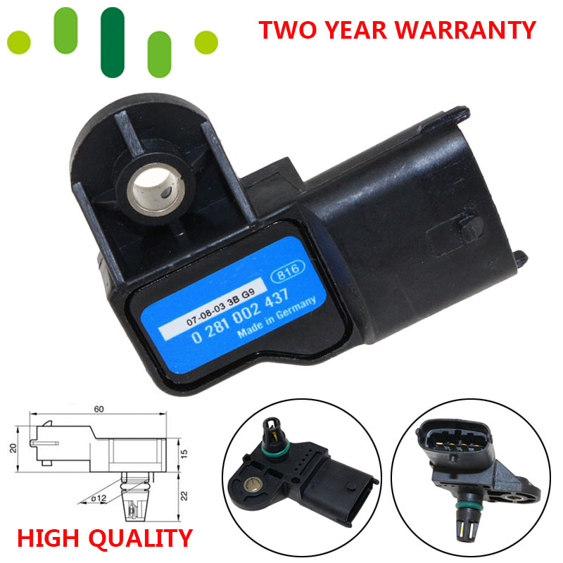 0281002437 High Quality Boost MAP Sensor For Alfa Romeo 147 156 159 166 Brera GT Giulietta Mito Spider Ford Ranger Volvo S60 V70