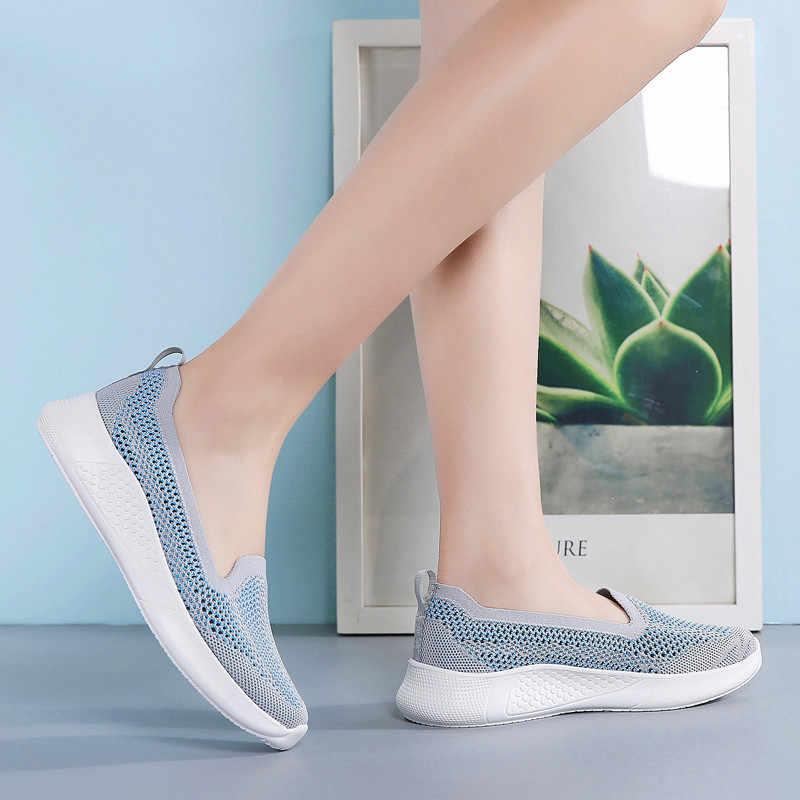 PINSEN 2020 패션 스니커즈 여성 플랫 슈즈 여름 통기성 메쉬 캐주얼 슈즈 여성 슬립 온 발레리나 플랫 여성 신발