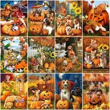 HUACAN – Kit complet de peinture diamant chien, perceuse, Kit de strass, broderie, point de croix, Animal, mosaïque, citrouille, décoration d'automne