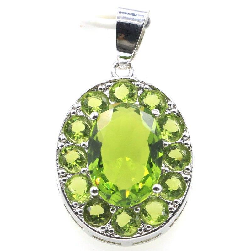 33x19mm Beautiful Green Peridot Pink Tourmaline Gift For Ladies Jewelry Making Silver Pendant