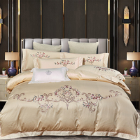 New Luxury 100% Pure Cotton Satin Bedding Set Egyptian Cotton Embroidery Duvet Cover Cotton Bed Linen Fitted Sheet Pillowcases