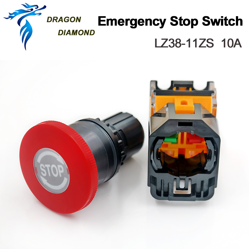 10A Emergency Stop Switch LZ38-11ZS For Laser Machine Mechanical Parts