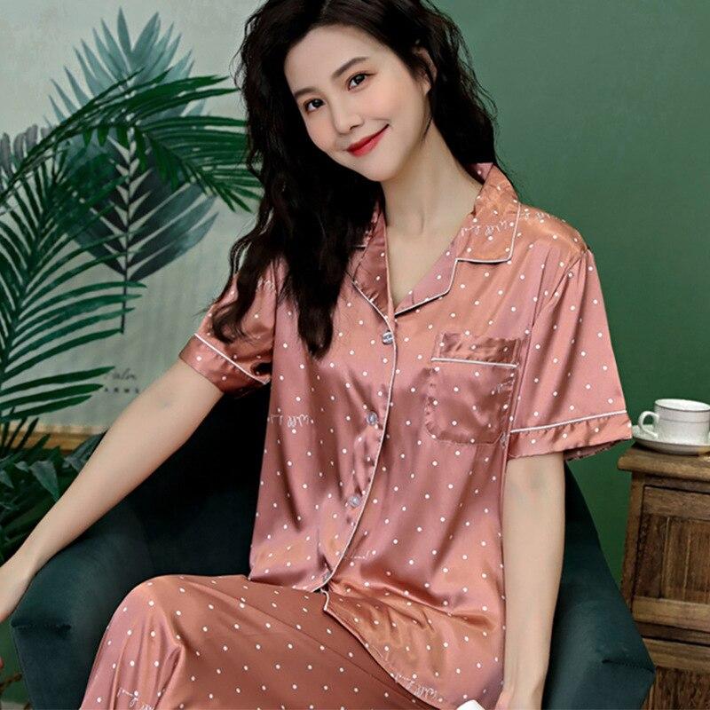 Wave Point Printing Women Pajamas Suit Ice Silk Short Sleeve Trousers Suit Pyjamas