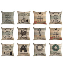 45x45cm Vintage granja vida arte letra imprimir granja pollo hogar decorativo sofá almohada cubierta algodón Lino Nórdico cojín