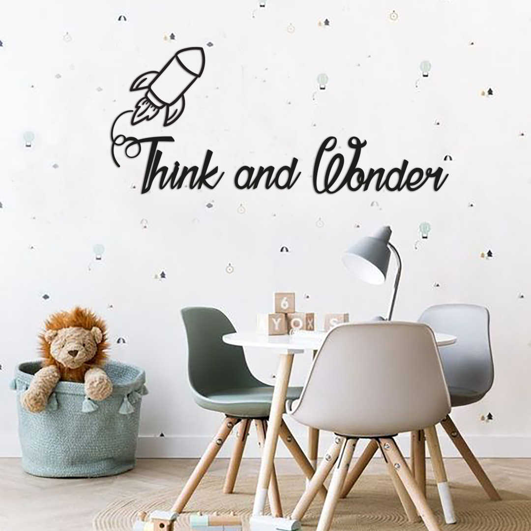 Metal Wall Decor And Art Think And Wonder Interior Design Words Wall Decor Metal Phrase The Babyroom Kidsroom Aliexpress