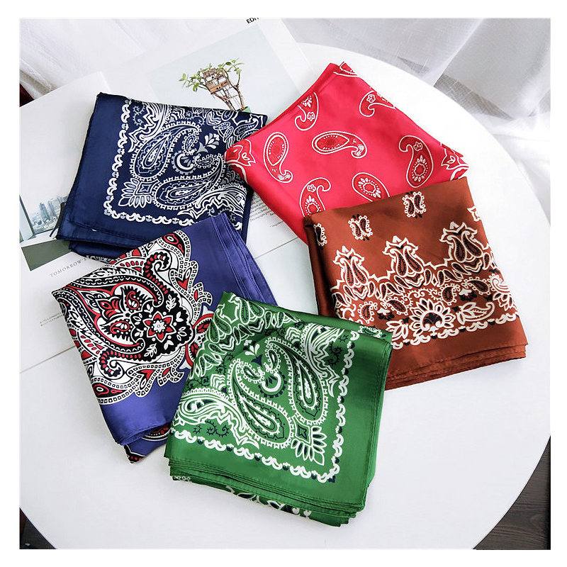 2019 Fashion Bandana Hair Scarf For Women Paisley Print Kerchief Silk Satin Head Scarfs Square Shawl Wraps Neck Scarves For Lady