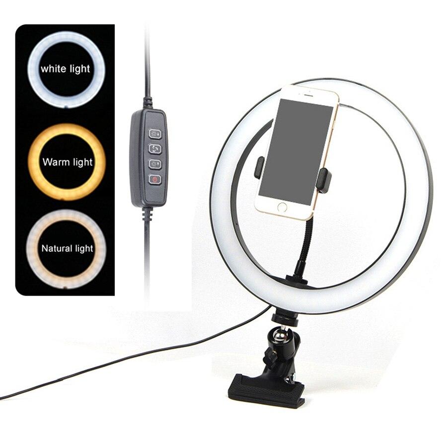 26cm 16cm Selfie Led Ring Light Portable Mobile Selfie Lamp for Iphone huawei Clip Lampe Selfi Telephone Lens Photography Makeup