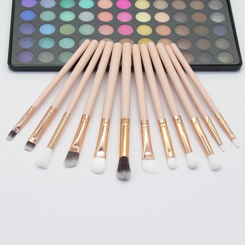 YALIAO Professional 12pcs Eyebrow Brushes Skin/Black Lip Eye shadow Make Up Brush Nylon Hair Foundation Makeup Brushes Tools