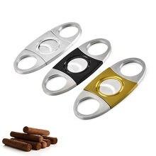 1 pçs acessórios de charuto lâminas duplas casa merchandises prata aço inoxidável bolso charuto cortador faca gadgets doubleedged